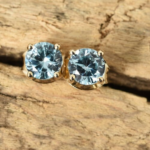 9K Yellow Gold Natural Blue Cambodian Zircon (Rnd) Earrings (with Push Back) 1.450 Ct