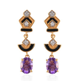 Moroccan Amethyst and Natural Cambodian Zircon Enamelled Dangle Earrings (with Push Back) in 14K Gol