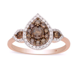 9K Rose Gold SGL Certified Champagne and White Diamond (I3/G-H) Ring 1.00 Ct.