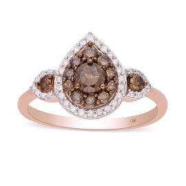 9K Rose Gold  White Diamond, Champagne Diamond Ring in Rhodium Overlay 1.00 ct,  Gold Wt. 2.5 Gms  1