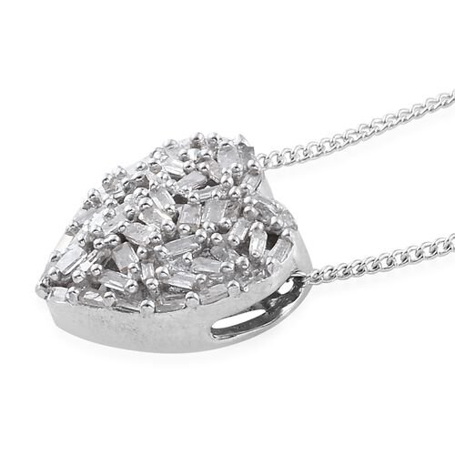GP Diamond (Bgt), Kanchanaburi Blue Sapphire Heart Pendant with Chain in Platinum Overlay Sterling Silver 0.365 Ct.