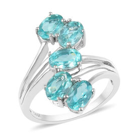 2 Carat Paraibe Apatite Crossover 5 Stone Ring in Platinum Plated Sterling Silver
