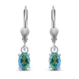 Peacock Triplet Quartz Solitaire Lever Back Earrings in Platinum Overlay Sterling Silver 1.15 Ct.