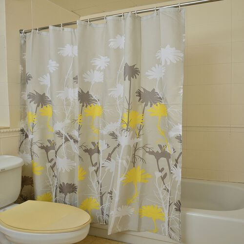 White, Grey and Yellow Colour Dendelion Flowers Printed Light Grey Colour Waterproof Shower Curtain with 12 Plastic Hooks (Size 180x180 Cm)