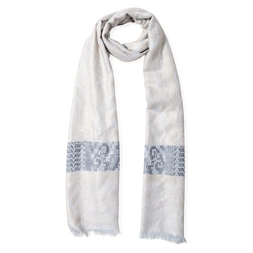 Ice Coffee, Black, Grey and Silver Colour Scarf with Geometric Drawing and Strip Pattern (Size 190x70 Cm)