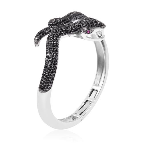 Designer Inspired - Boi Ploi Black Spinel (Rnd),Simulated Ruby Snake Bangle (Size 7.25) in Rhodium Overlay with Black Plating Sterling Silver, Silver wt 28.09 Gms.