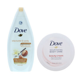 Dove: Beauty Cream Deep Moisturisation - 75ml & Purely Pampering Shea Butter & VANILLA Body Wash - 5