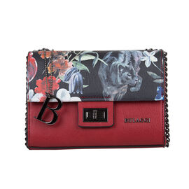 Bulaggi Collection Tuilip Black Base Floral Pattern Crossbody Bag in Red