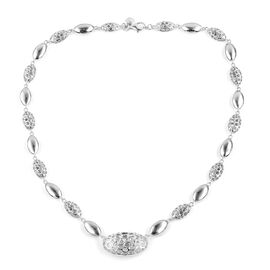 RACHEL GALLEY Rhodium Plated Sterling Silver Pebble Necklace (Size 20). Silver wt. 32.00 Gms.