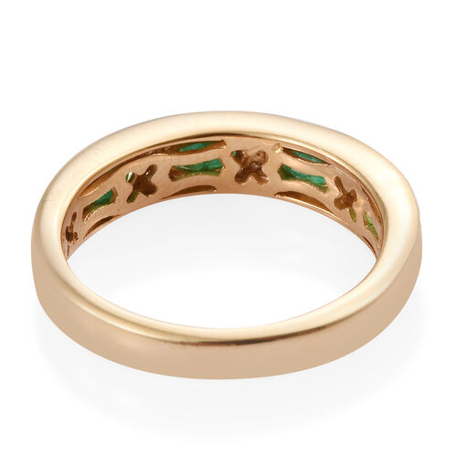 Brazilian Emerald (Ovl), Natural Cambodian Zircon Half Eternity Band Ring in 14K Gold Overlay Sterling Silver 1.000 Ct.