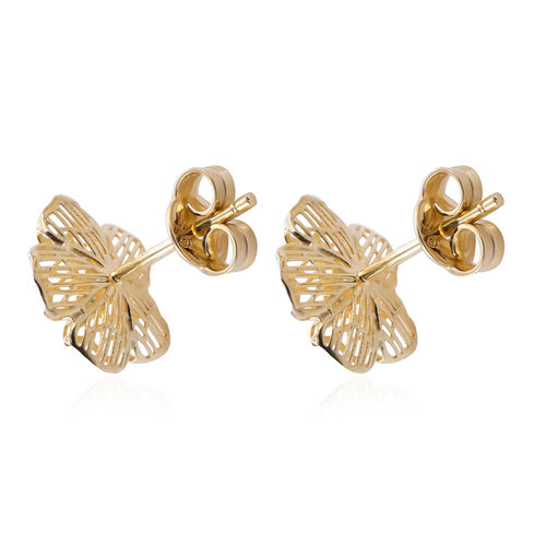 Royal Bali Collection - 9K Yellow Gold Floral Stud Earrings