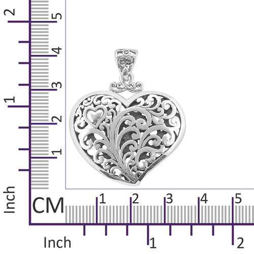 Royal Bali Collection Sterling Silver Heart Pendant, Silver wt 7.00 Gms.