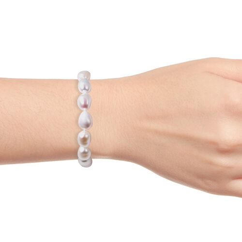 Freshwater Pearl Bracelet (Size 8) in Rhodium Overlay Sterling Silver