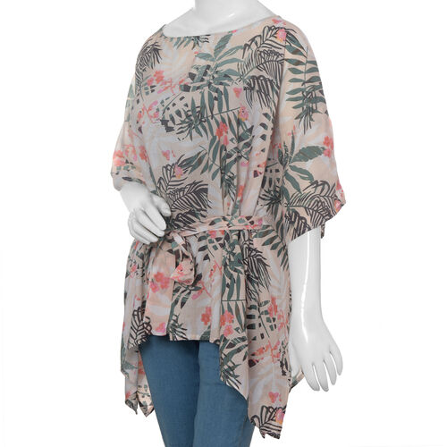 Designer Inspired- Limited Available- 100% Modal - Pink, Green and Multi Colour Flower and Leaves Pattern Top/ Kaftan (Size 65 Cm)