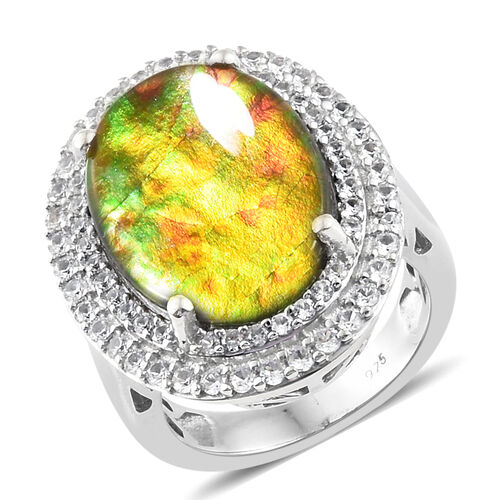 7.75 Ct AA Canadian Ammolite and Cambodian Zircon Halo Ring in Platinum Plated Sterling Silver 6.8 G