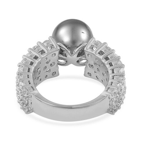 Tahitian Pearl and White Zircon Ring in Platinum Overlay Sterling Silver