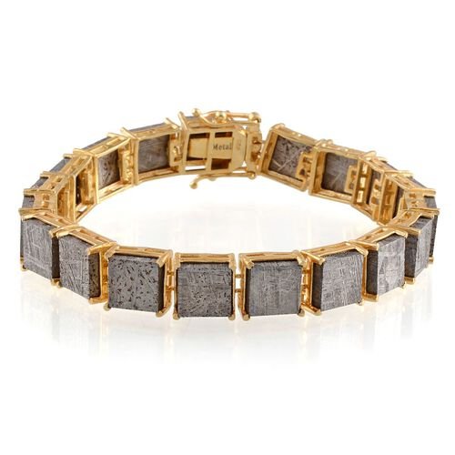 Meteorite (Sqr) Bracelet in 14K Gold Overlay Sterling Silver (Size 7.5) 120.000 Ct.