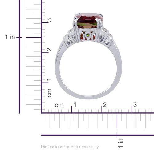 Bi-Colour Tourmaline Quartz (Cush 6.75 Ct), Diamond Ring in Platinum Overlay Sterling Silver 6.900 Ct.