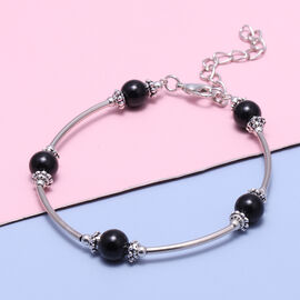 Black Agate Bracelet  (Size - 7.5 with 2.5 Extender) in Silver Tone 12.50  Ct.