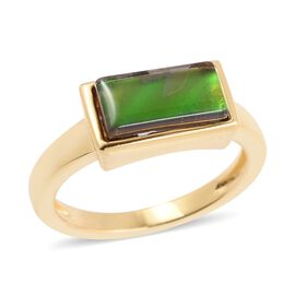 AA Canadian Ammolite (Bgt 10x5 mm) Ring in Vermeil Yellow Gold Overlay Sterling Silver
