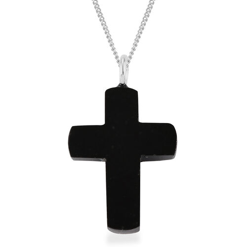 California Black Jade Cross Pendant With Chain in Sterling Silver 4.50 Ct.