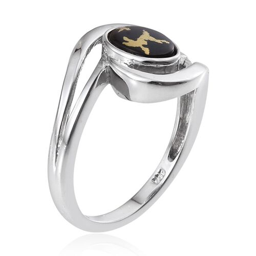 Goldenite (Ovl) Solitaire Ring in Platinum Overlay Sterling Silver 1.000 Ct.