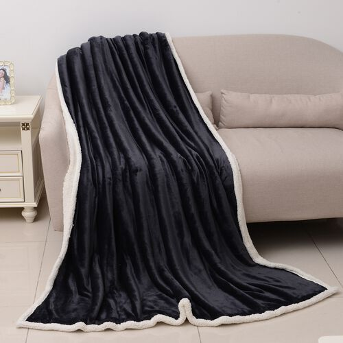 Super Auction-Black Colour Supersoft Reversible Flannel Sherpa Blanket (150x200 cm)