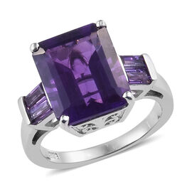 6.25 Ct Amethyst Solitaire Design Ring in Platinum Plated Silver