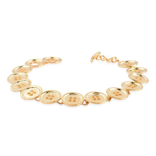 LucyQ Button Bracelet (Size 8) in Yellow Gold Overlay Sterling Silver 22.00 Gms.