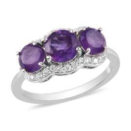 Amethyst and Natural Cambodian Zircon Ring in Platinum Overlay Sterling Silver 2.10 Ct.