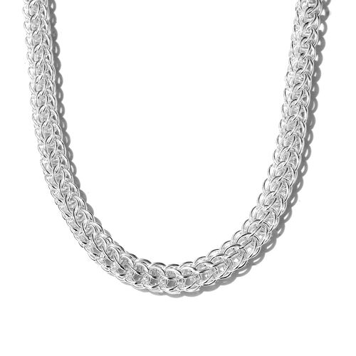 Sterling Silver Fancy Curb Necklace (Size 18 and 2 inch Extender), Silver wt 42.25 Gms.