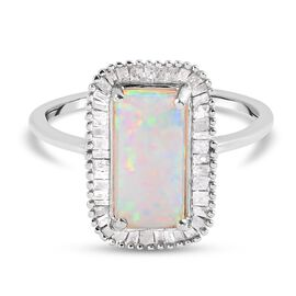Ethiopian Welo Opal and Diamond Ring in Platinum Overlay Sterling Silver 2.03 Ct.