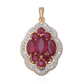 African Ruby (Mrq and Rnd), Natural White Cambodian Zircon Pendant in Yellow Gold Overlay Sterling S