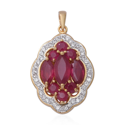 7.36 Ct African Ruby and Cambodian Zircon Cluster Pendant in Gold Plated Sterling Silver 5.60 Grams