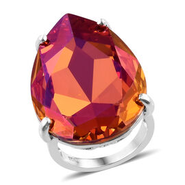 J Francis Astral Pink Crystal From Swarovski Solitaire Ring in Sterling Silver 5.57 Grams