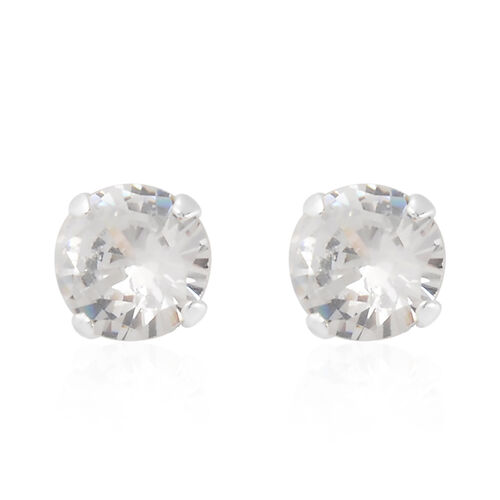 3 Piece Set - Sterling Silver Simulated Diamond Stud Earrings and Plain Ball Stud Earrings