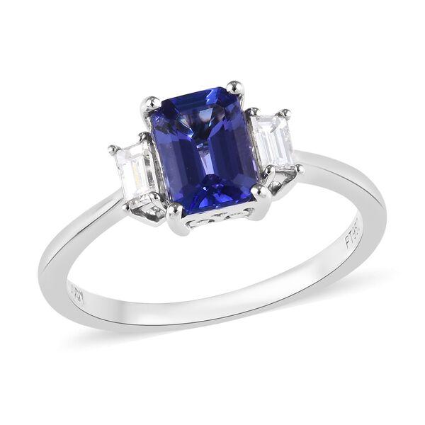 RHAPSODY 1.10 Ct AAAA Tanzanite and Diamond Trilogy Ring in 950 Platinum VS EF
