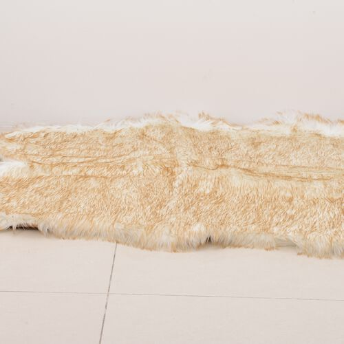 Luxury Edition - Shaggy Pile Super Deep Faux Sheep Skin Rug (Size 180x100 Cm) Beige