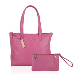 100% Genuine Leather Fuchsia Tote Bag and RFID Wrislet with Zipper Closure