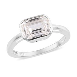 J Francis -  Sterling Silver (Oct) Solitaire Ring (Size O) Made with SWAROVSKI ZIRCONIA