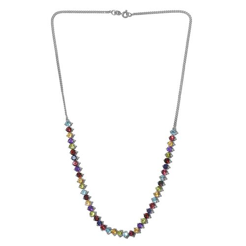 GP Amethyst (Rnd), Mozambique Garnet, Hebei Peridot, Citrine and Multi Gemstone Necklace (Size 18) in Platinum Overlay Sterling Silver 12.500 Ct. Silver wt 13.13 Gms.