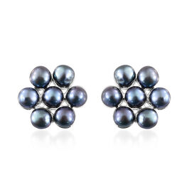 One Time Deal- Fresh Water Peacock Pearl (Rnd) Floral Earrings (with Push Back) in Sterling Silver