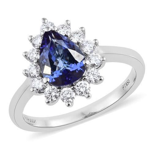 RHAPSODY 950 Platinum AAAA Tanzanite (Pear 1.650 Ct), Diamond (VS/E-F) Ring 2.250 Ct, Platinum wt 6.23 Gms.