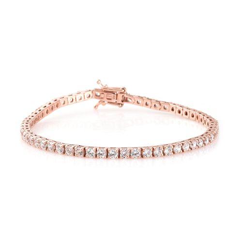 J Franics- Rose Gold Overlay Sterling Silver (Rnd) Bracelet (Size 7.5) Made with SWAROVSKI ZIRCONIA, Silver wt 10.50 Gms.