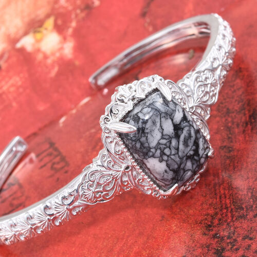 Austrian Pinolith (Cush) Bangle (Size 7.25) in ION Plated Platinum Bond 21.750 Ct.