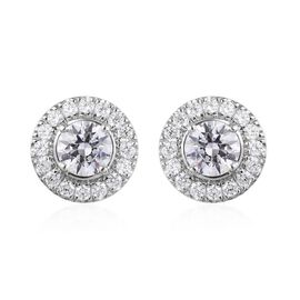 J Francis - Platinum Overlay Sterling Silver (Round) Stud Earrings (with Push Back) Made with SWAROV