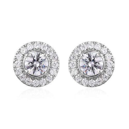 J Francis Made with SWAROVSKI ZIRCONIA Round Stud Earrings in Platinum plated Sterling Silver