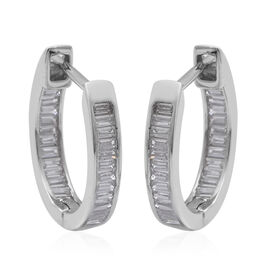 ELANZA Simulated Diamond (Bgt) Earrings (with Clasp Lock) in Rhodium Overlay Sterling Silver, Silver