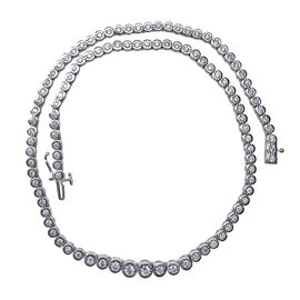 New York Close Out Deal 5 Ct Diamond Tennis Necklace in 14k White Gold 23 Grams 16.25 Inch I1 GH