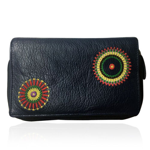 Designer Inspired 100% Genuine Premium Leather RFID Blocker Navy, Yellow and Multi Colour Hand Embroidered Circular Design Wallet with Multiple Card Slots (Size 16X10X3 Cm)